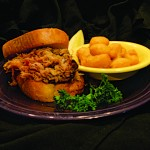 pulled pork sandwich on texas toast